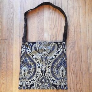 Samiah Brown Tapestry Tote Purse